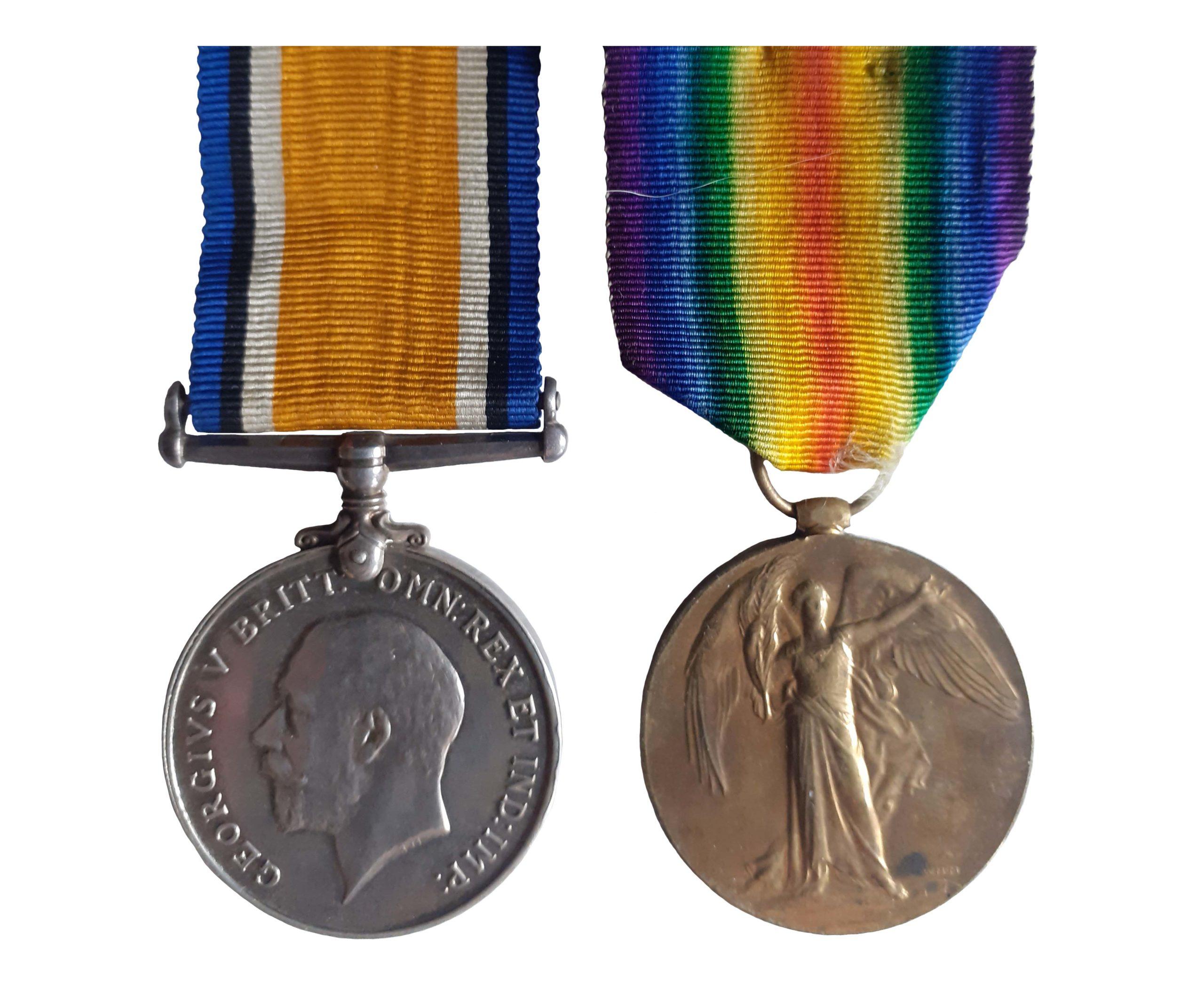 A Great War pair to Guardsman Charles Augustus Ward