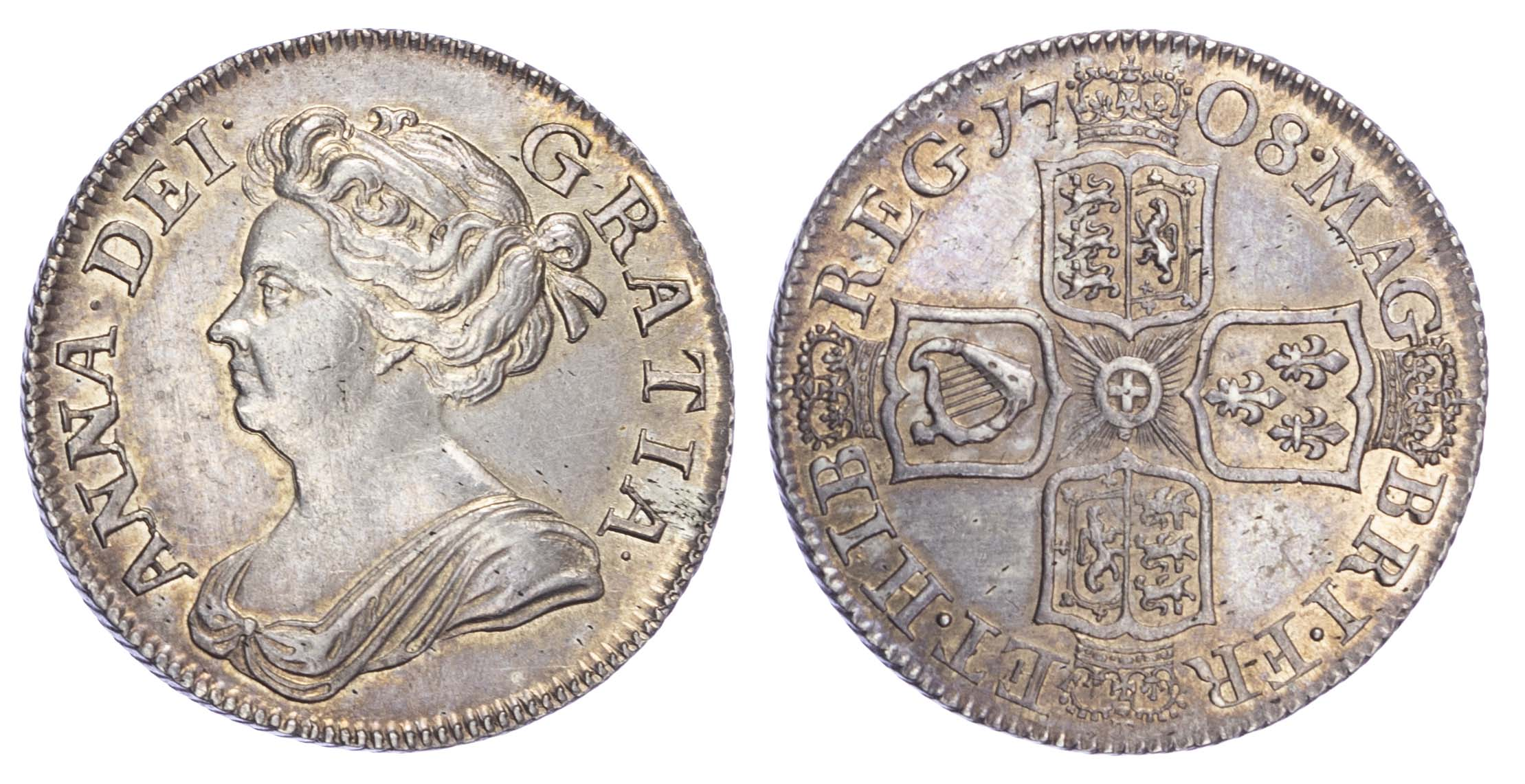 Anne (1702-14), Shilling, 1708, third draped bust