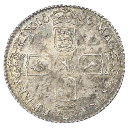 William III (1694-1702), Sixpence, 1696, first laureate