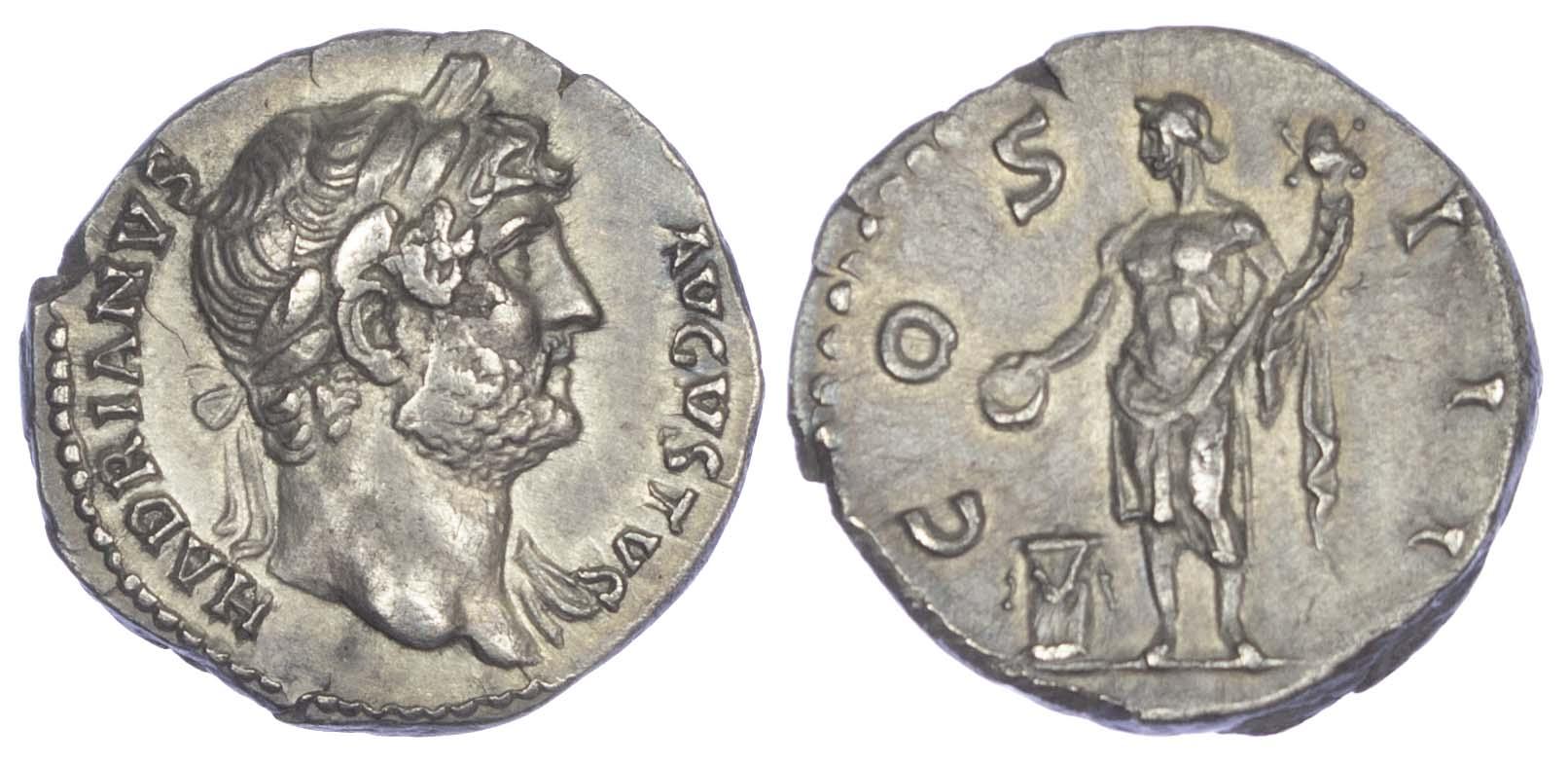 Hadrian (AD 117-138) AR Denarius.