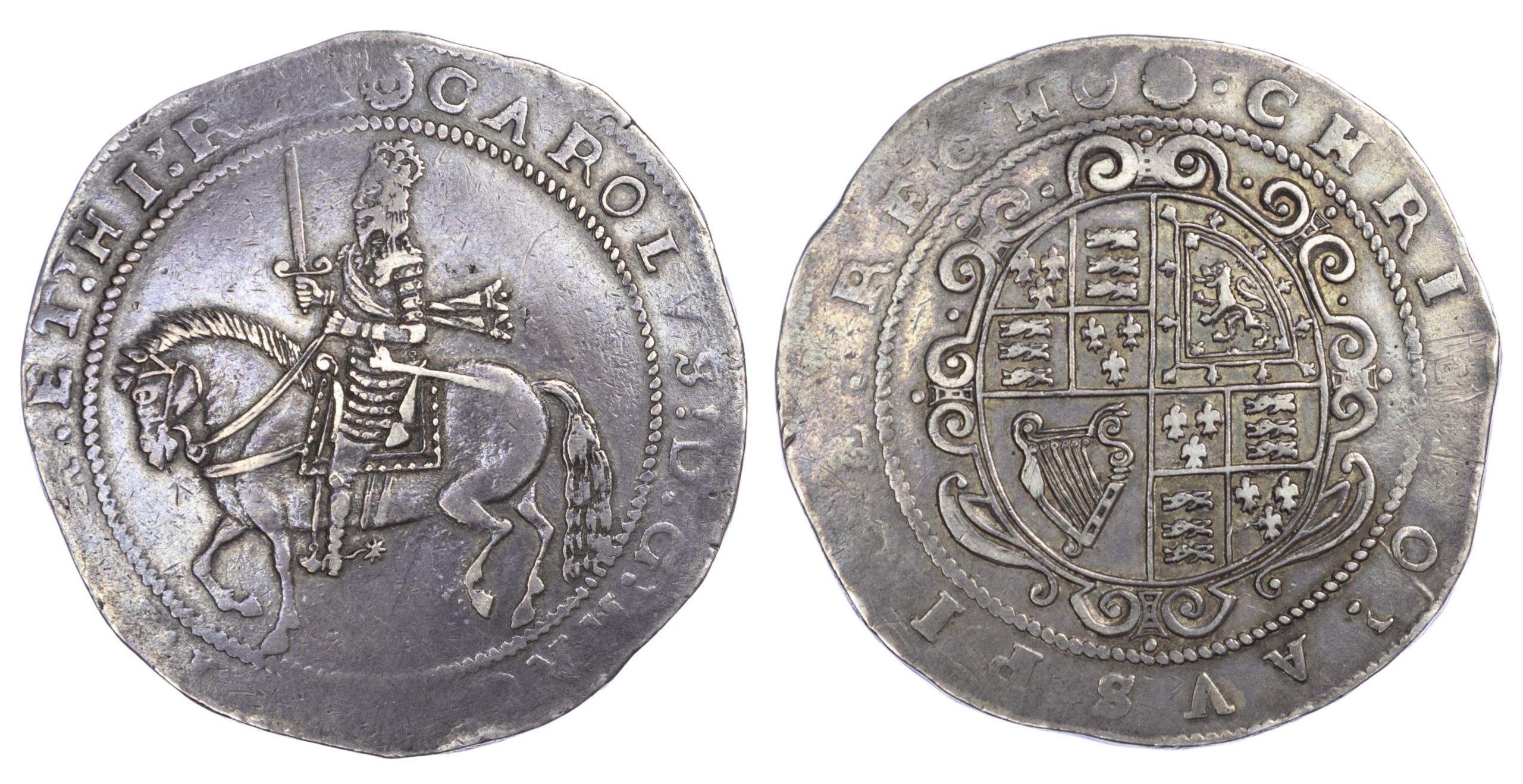 Charles I (1625-49), Crown. Truro mint. Rose i.m. 1642-1643