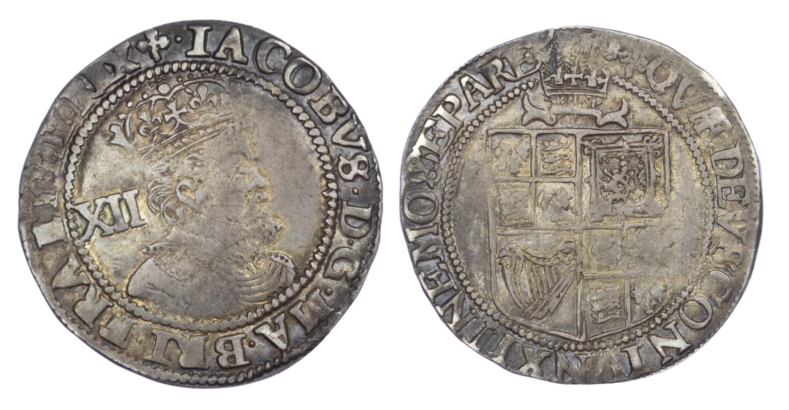 James I (1603-25), Shilling, third coinage, mintmark trefoil