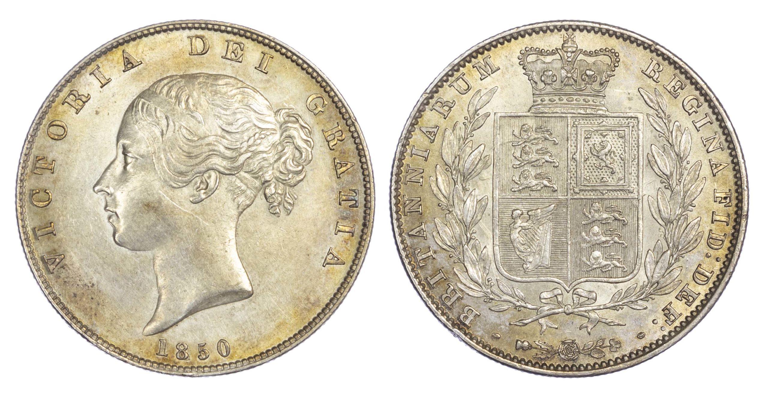 Victoria (1837-1901), Halfcrown, type A4, 1850