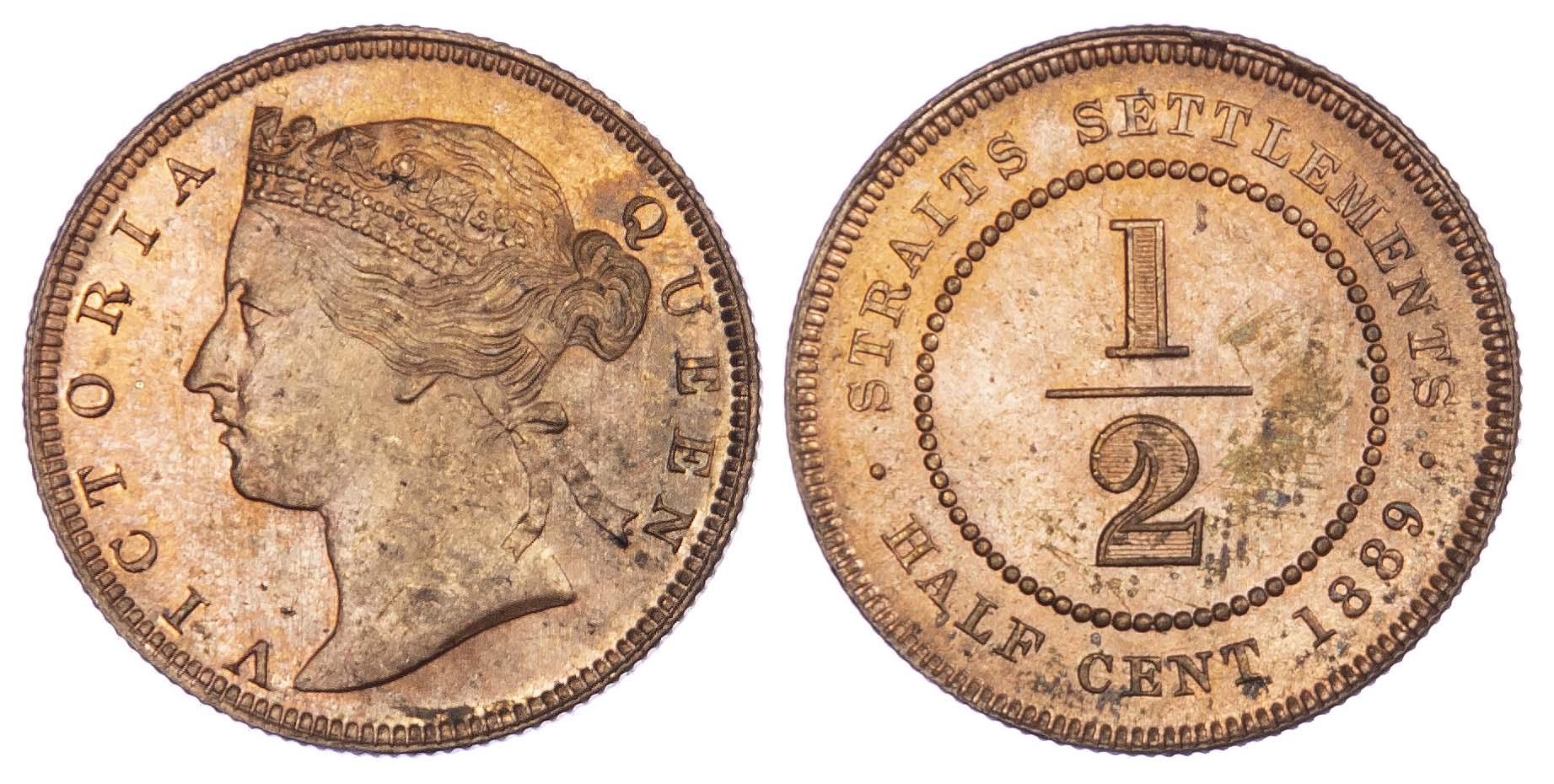 Straits Settlements, Victoria (1837-1901), copper Half Cent, 1889
