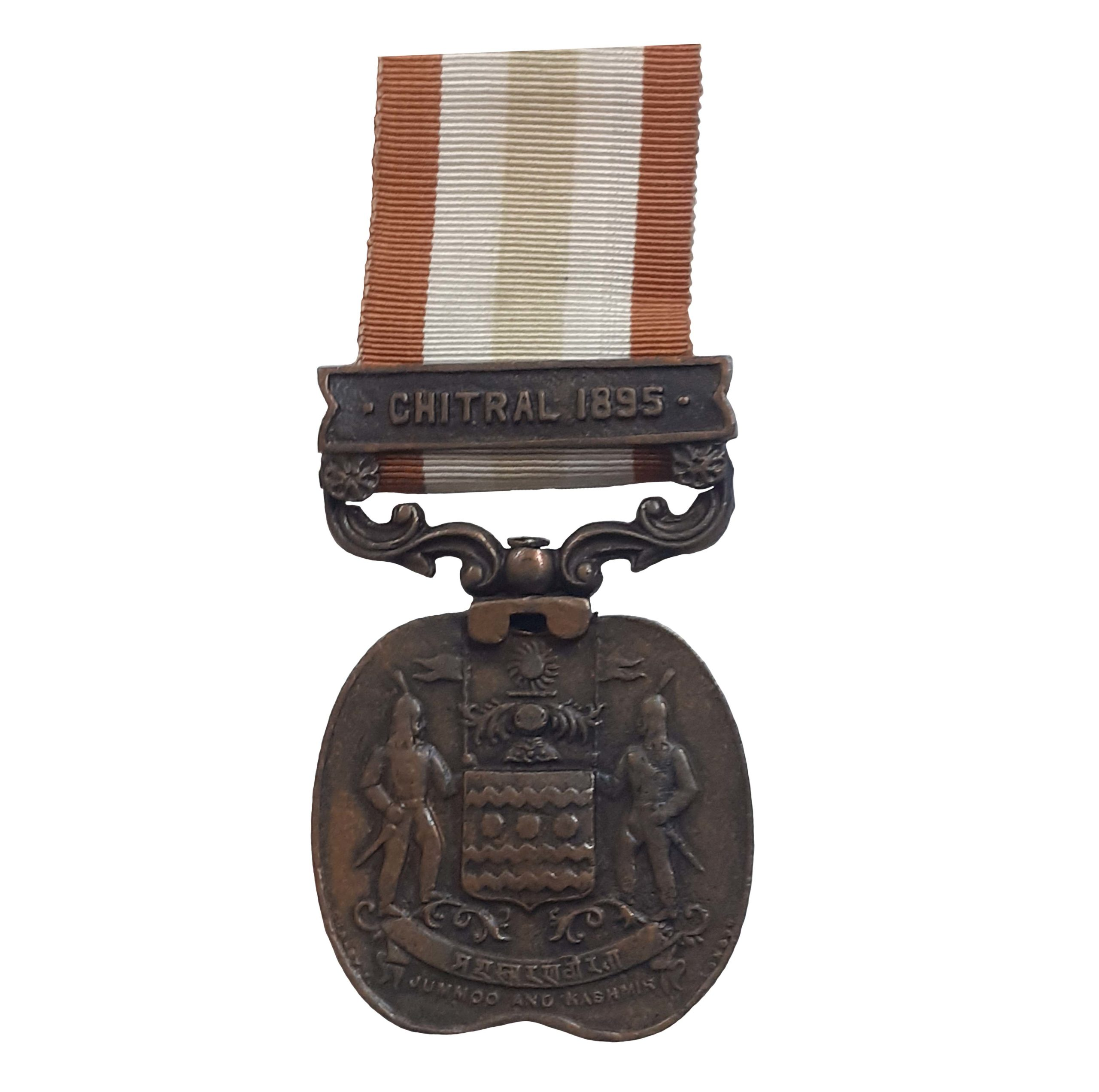 A Jummoo and Kashmir Medal, 1895, one clasp, Chitral 1896