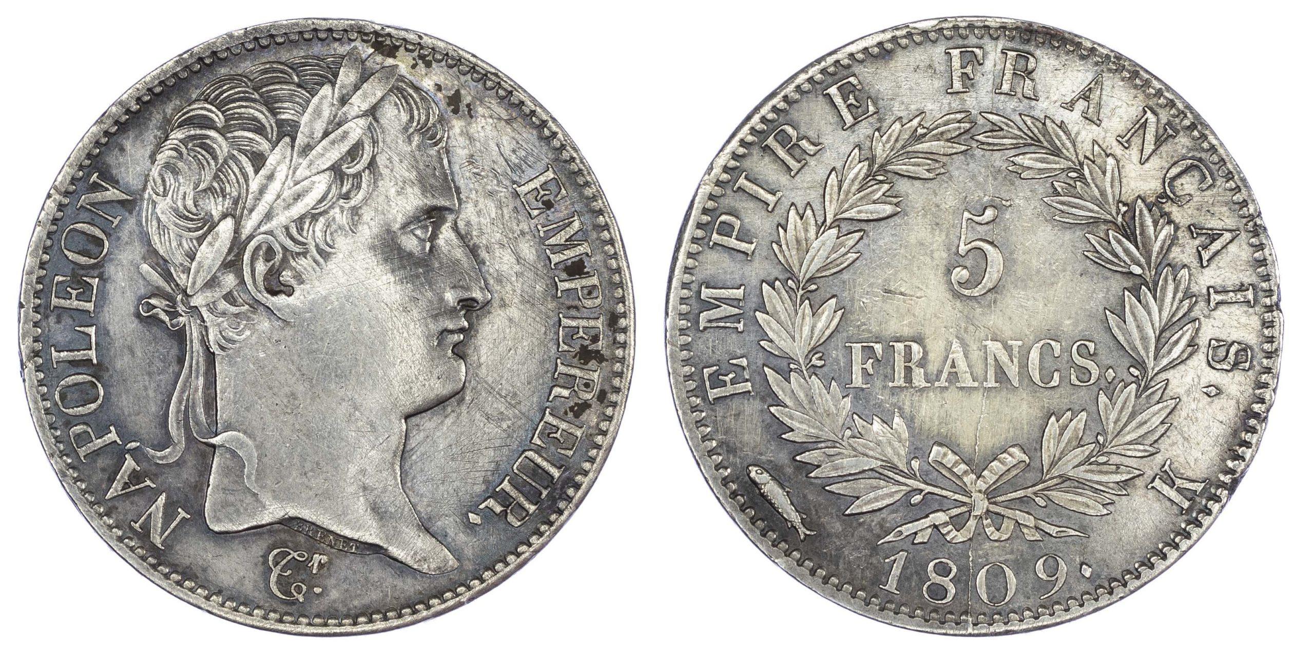 France, Napoleon (1804-1814), silver 5 Francs, 1809, Bordeaux