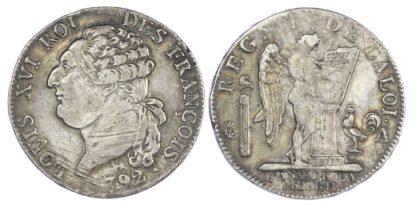 France, Louis XVI, silver ½ Ecu, 1792 A, Paris