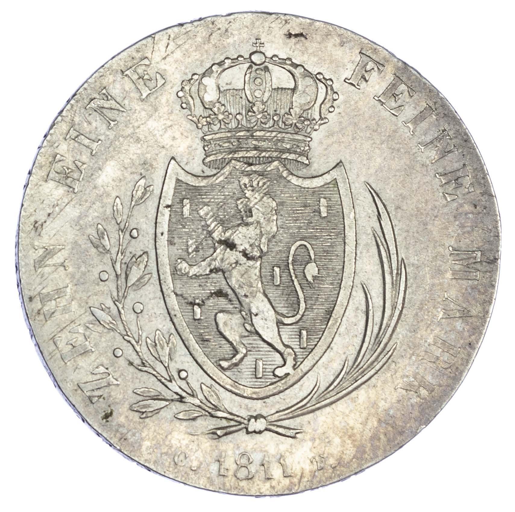 Germany, Nassau-Weilburg, Friederich Wilhelm II (1806-16 AD), silver Taler, 1811