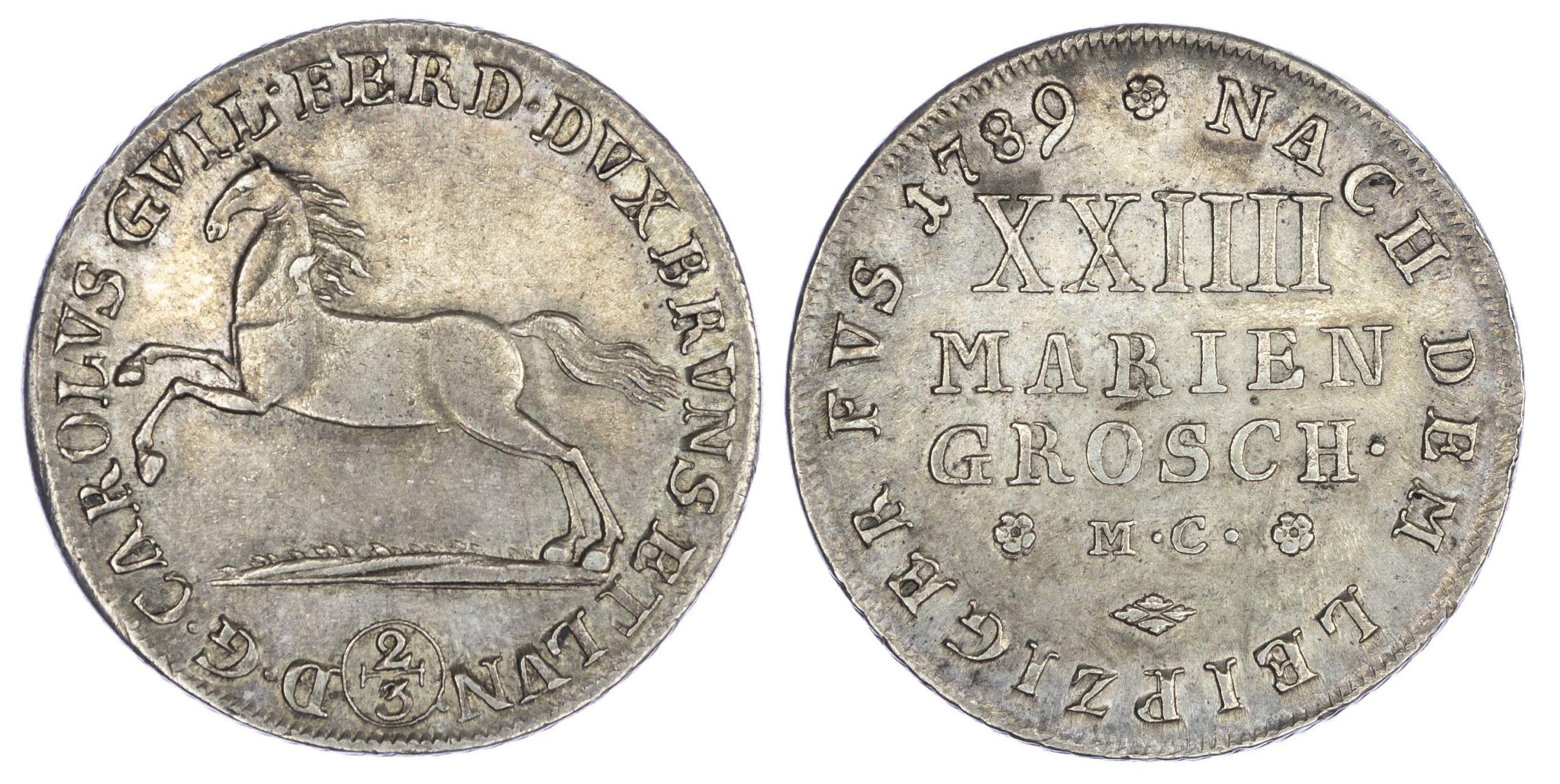 Germany, Brunswick-Wolfenbüttel, Karl Wilhelm Ferdinand (1780-1806 AD), silver 2/3 Taler (24 Mariengroschen), 1789