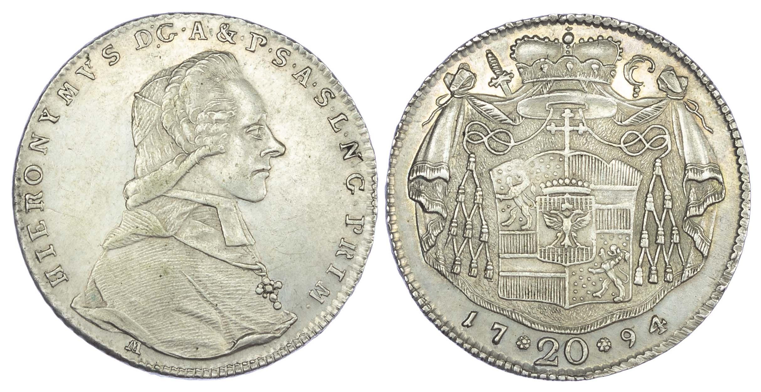 Austria, Salzburg (Bishopric), Hieronymus von Colloredo (1772-1803 AD), silver 20 Kreuzer, 1794