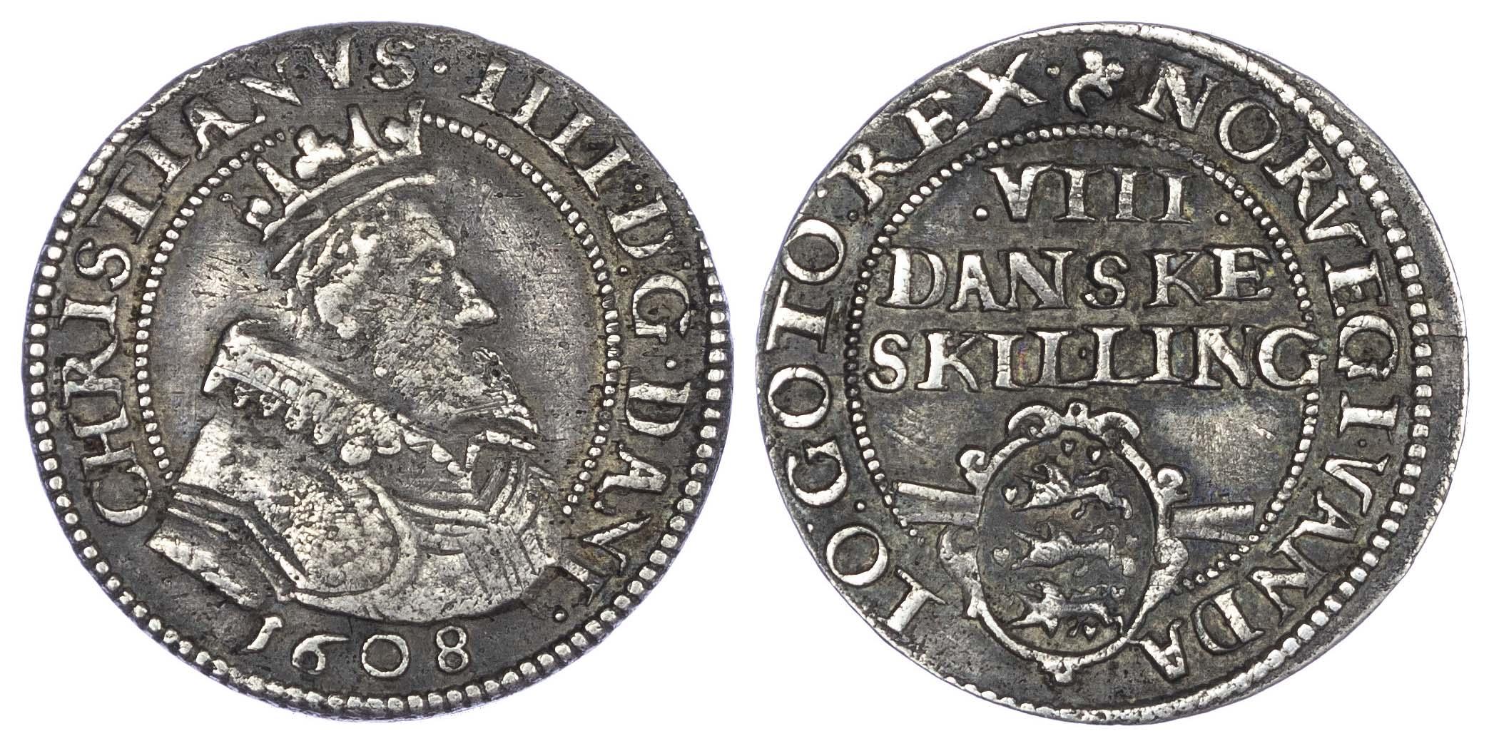 Denmark, Christian IV (1588-1648 AD), silver 8 Skilling, 1608 AD