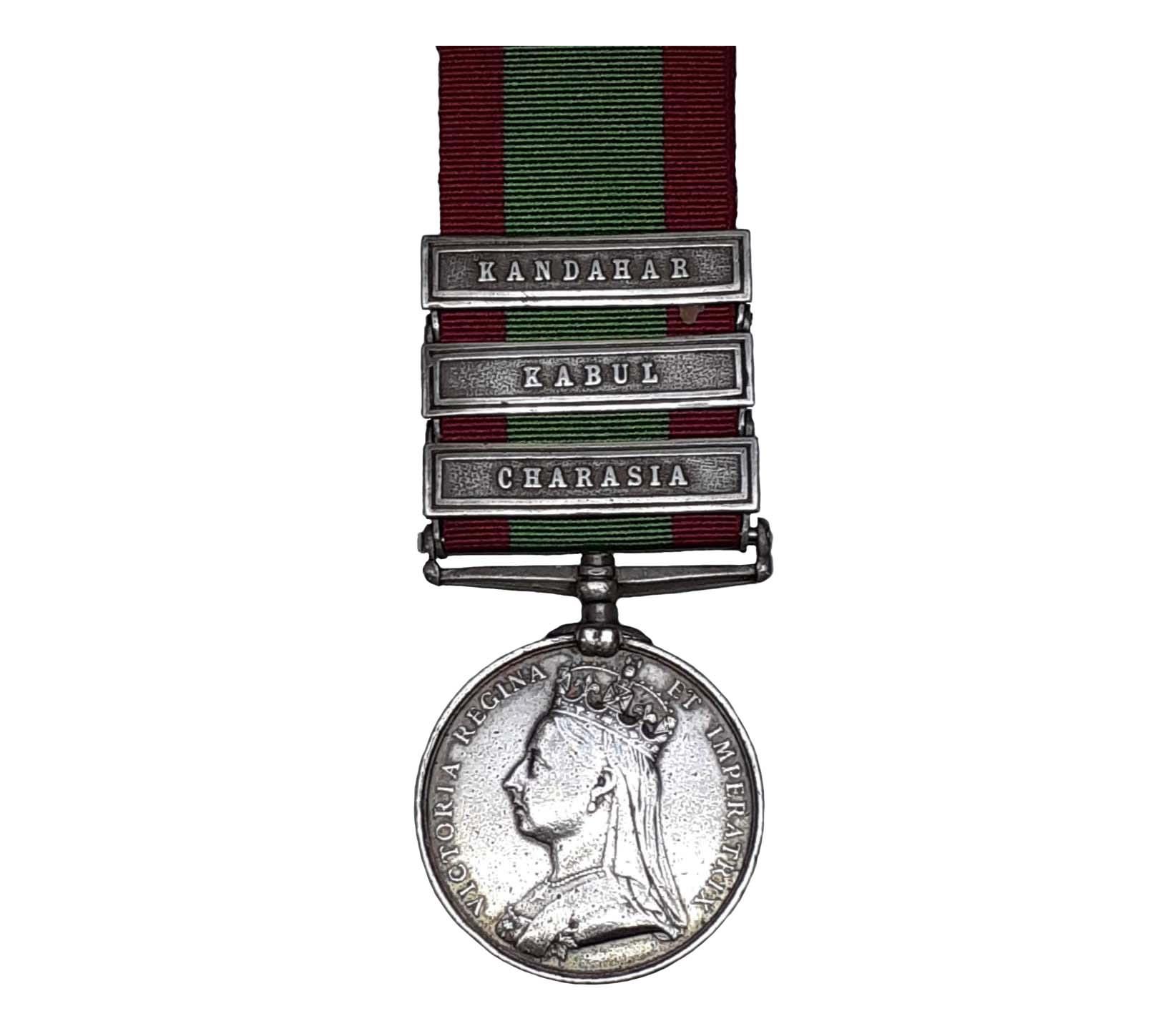 Afghanistan Medal, 1878-80, three clasps Charasia, Kabul, Kandahar to Private John Smith