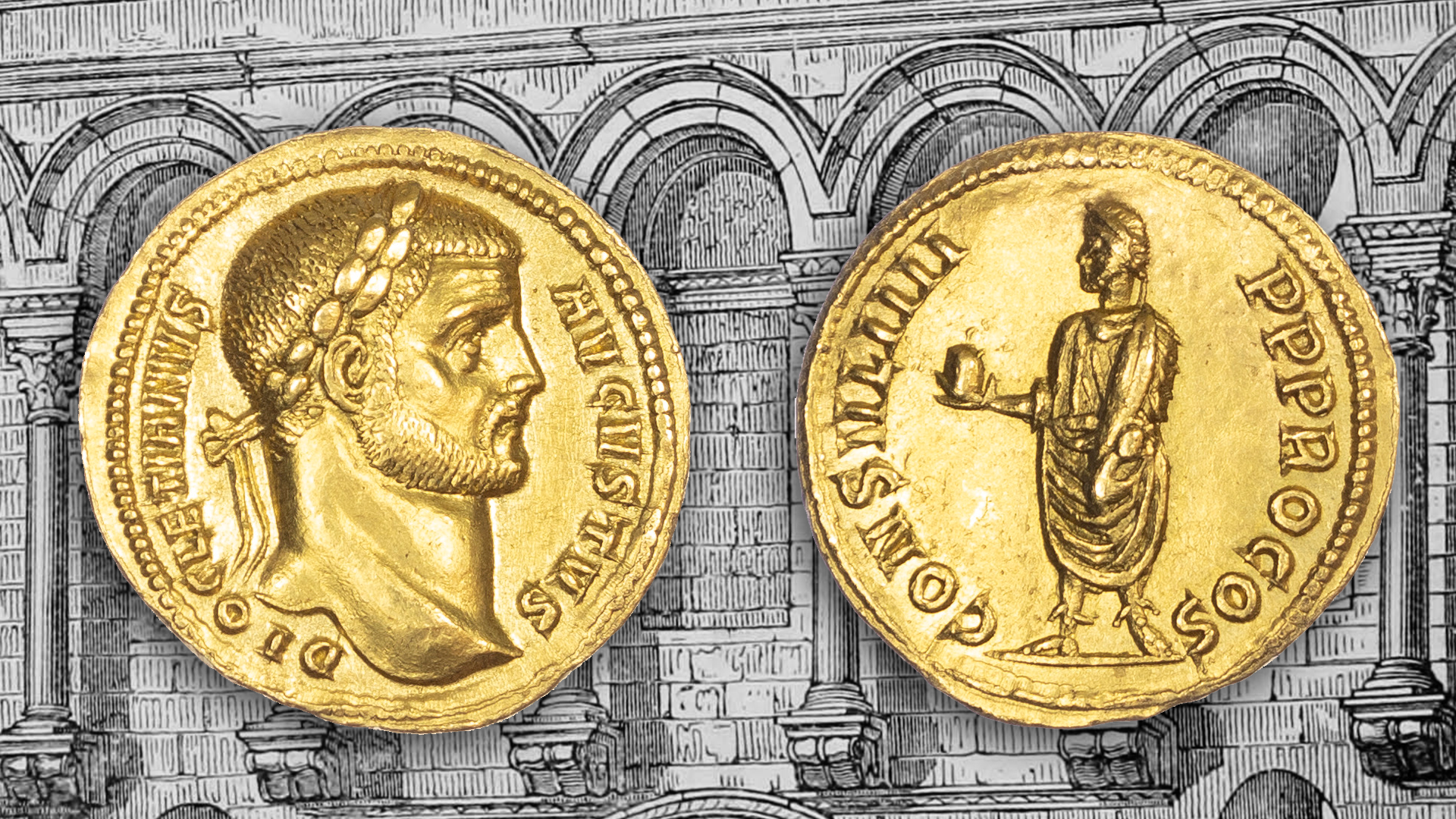 The Gold Aureus of Diocletian with a 19th Century engraving depicting the façade of Diocletian's Palace in Split, Croatia.