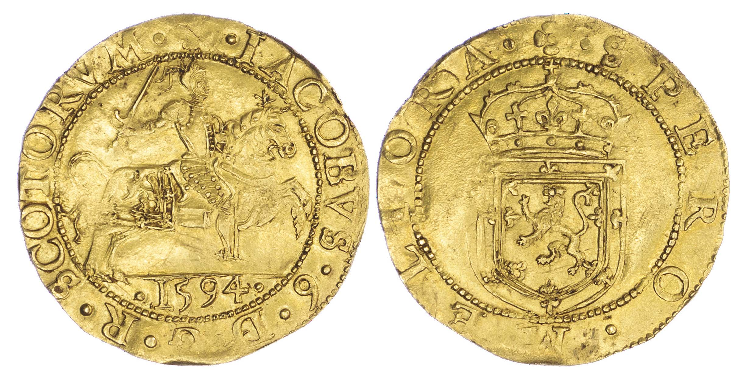 James VI (1567-1625), gold Rider of 100 Shillings, 1594