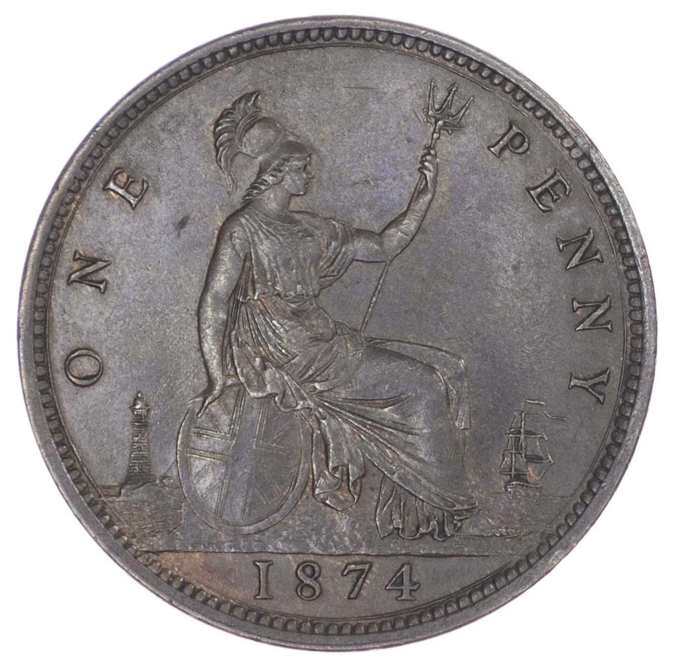 Victoria (1837-1901), Bronze Penny, 1874, Dies 7 & G