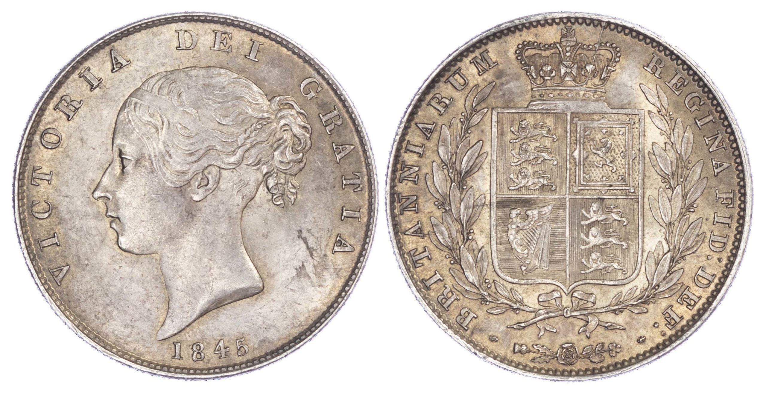 Victoria (1837-1901), Halfcrown, 1845, Type A4, young head