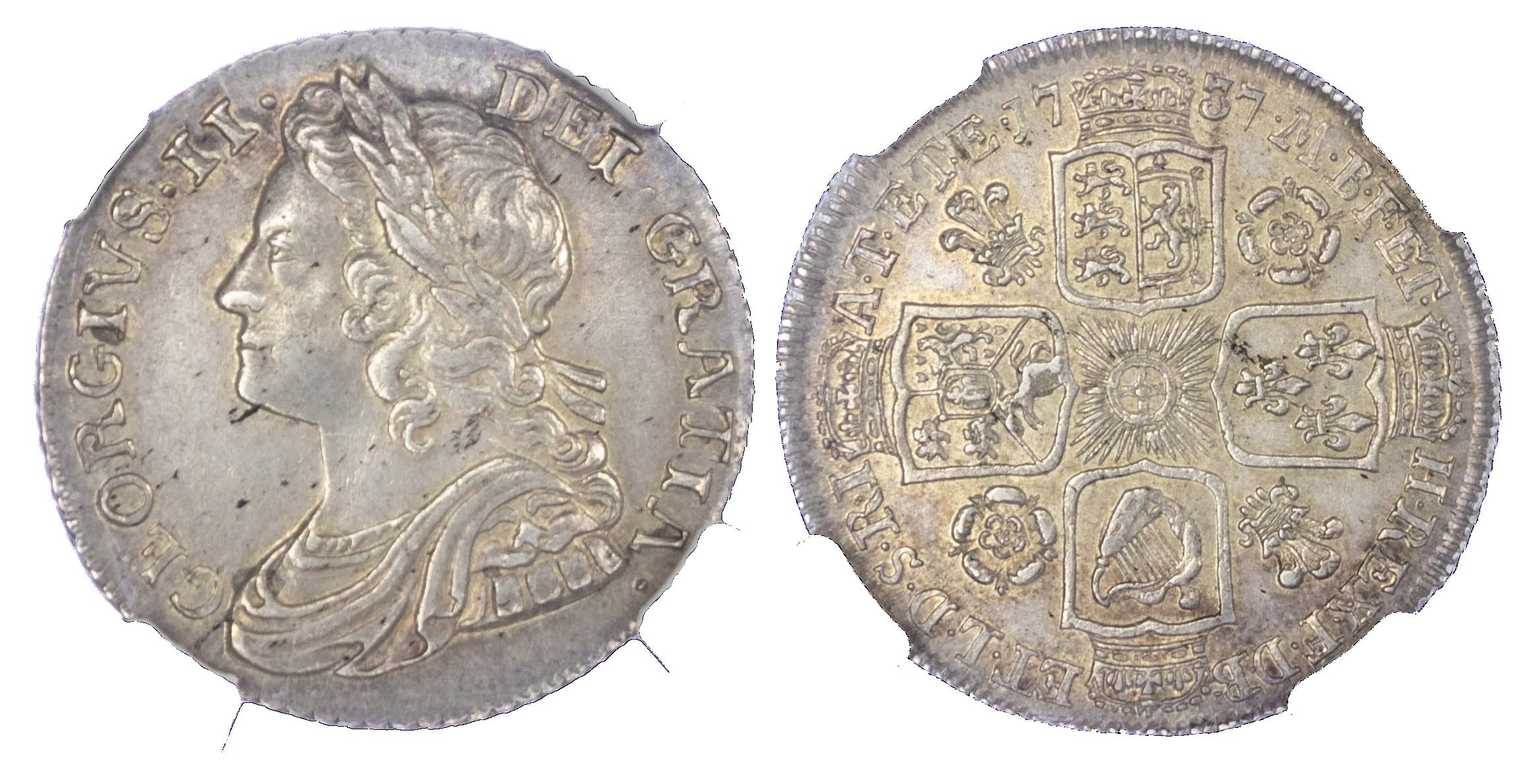 George II (1727-60), Shilling, 1737, Roses and Plumes type