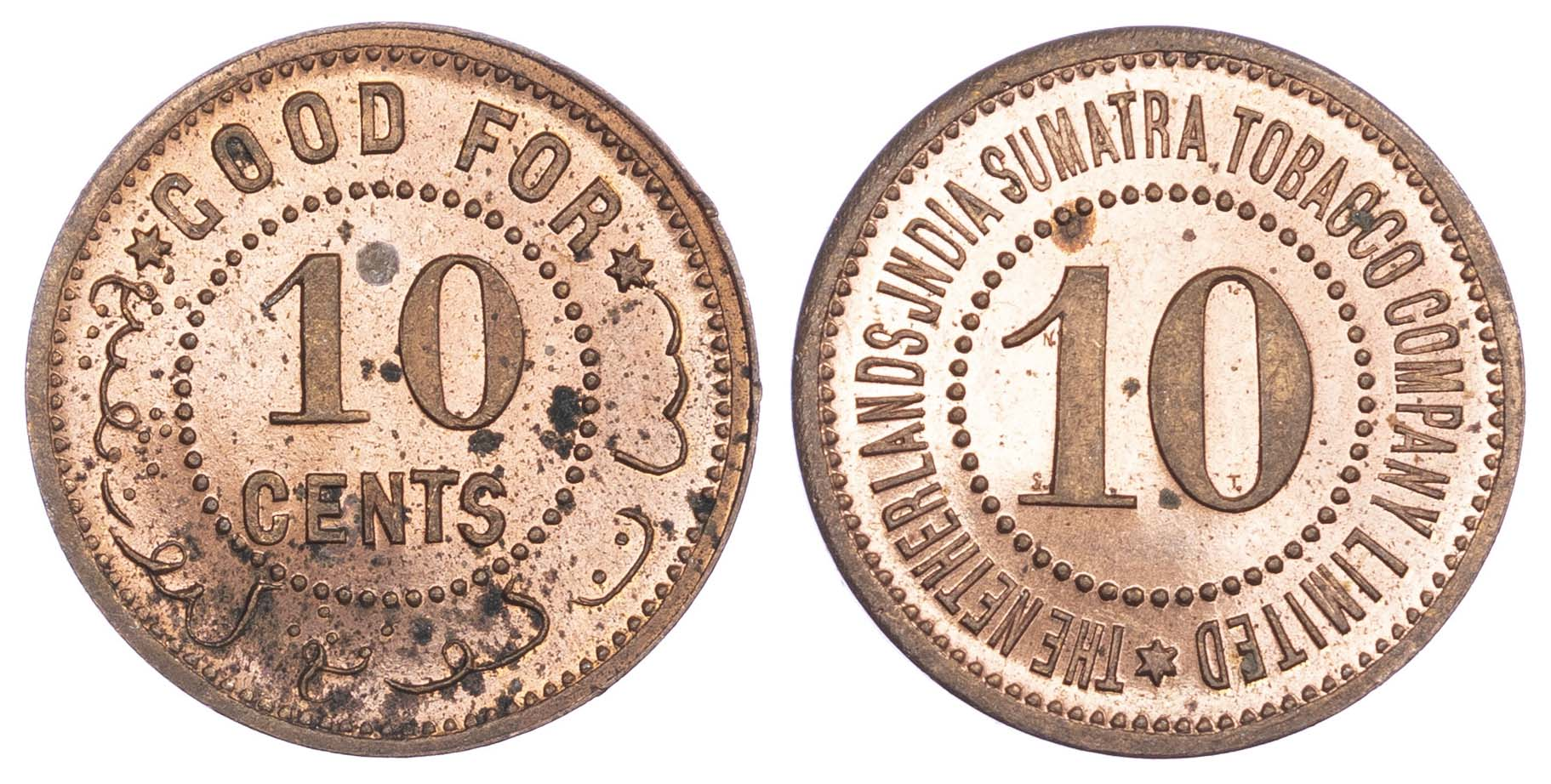 Netherlands East Indies, Sumatra, copper Proof 10 Cents, Tobacco Token