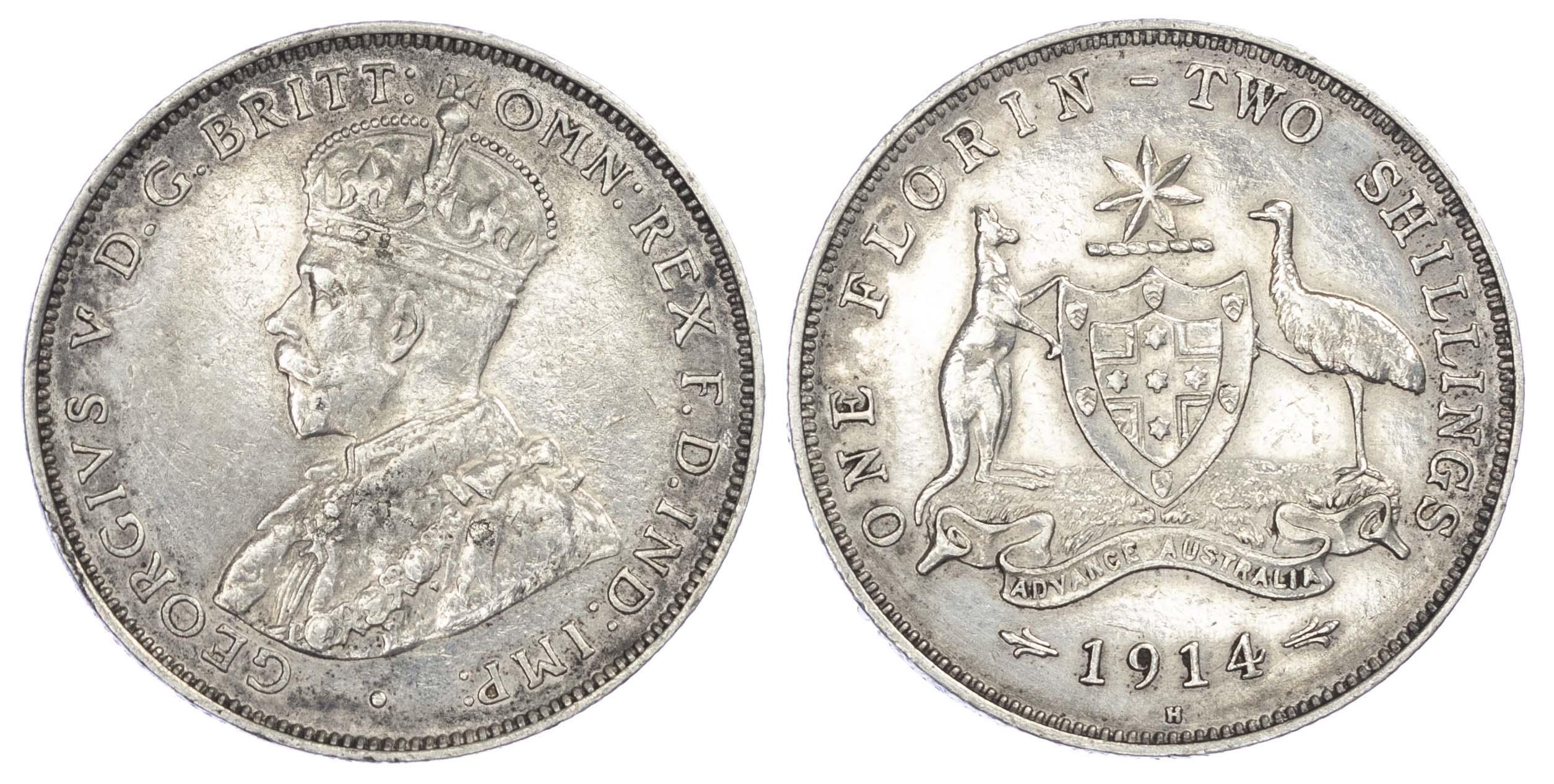 Australia, George V (1910-36), silver Florin, 1914 H