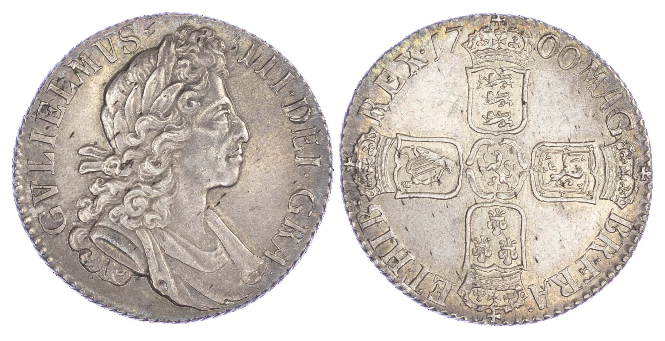 William III (1694-1702), Shilling, 1700, taller 0s in date line, fifth bust