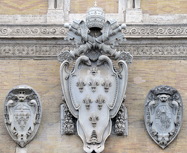 Farnese family coat of arms on Palazzo Farnese in Rome.