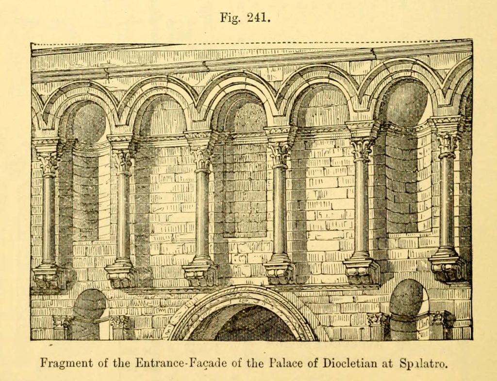 A 19th Century engraving depicting the façade of Diocletian's Palace in Split, Croatia.