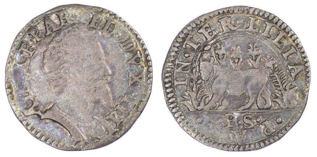 A silver Cavallotto of Alessandro Farnese coin.