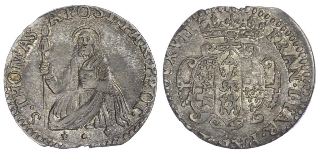 A silver Lira of Francesco Farnese coin.