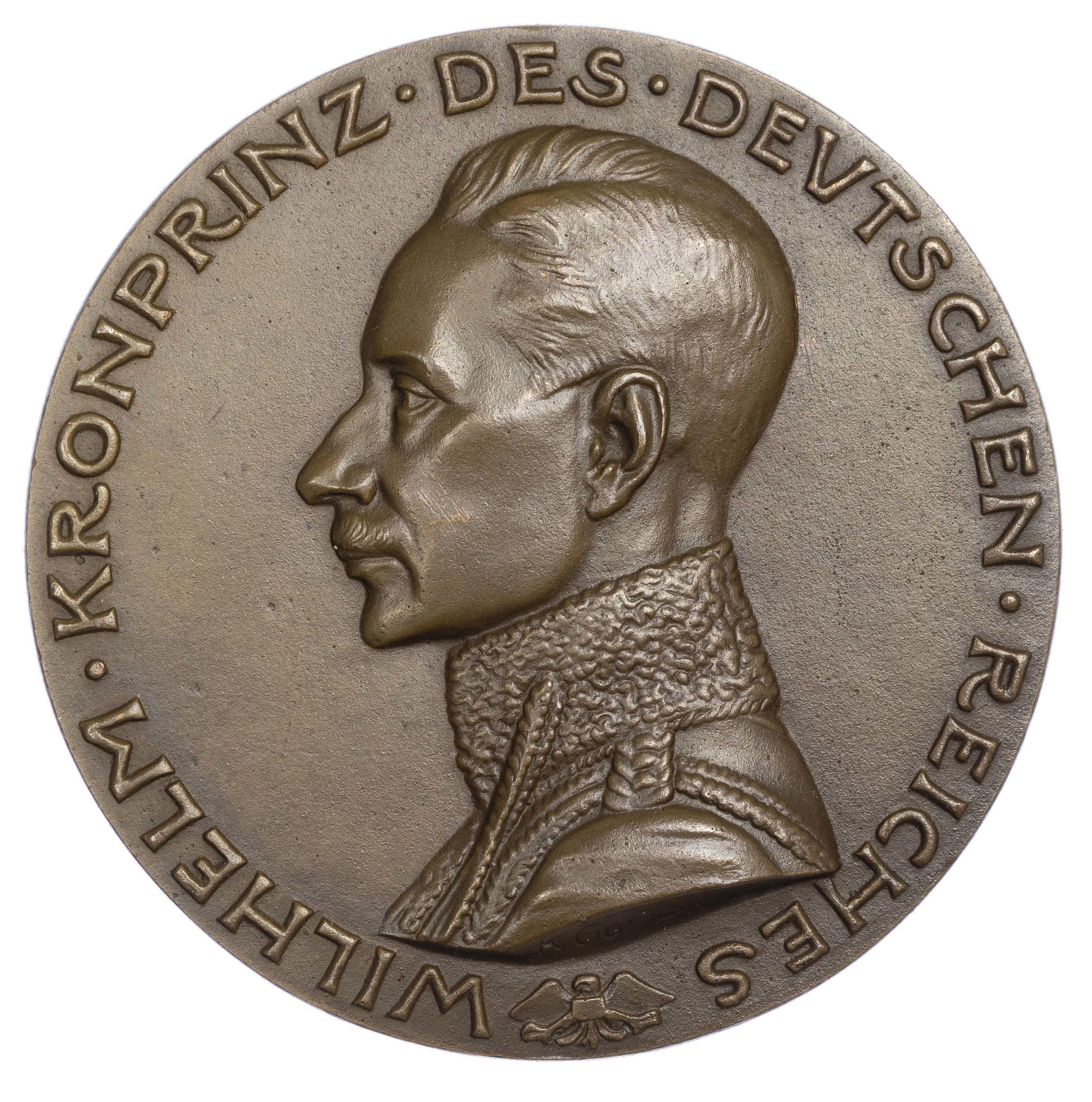 Germany, Crown Prince Wilhelm as hero of the battle of Verdun. AE medal 1915