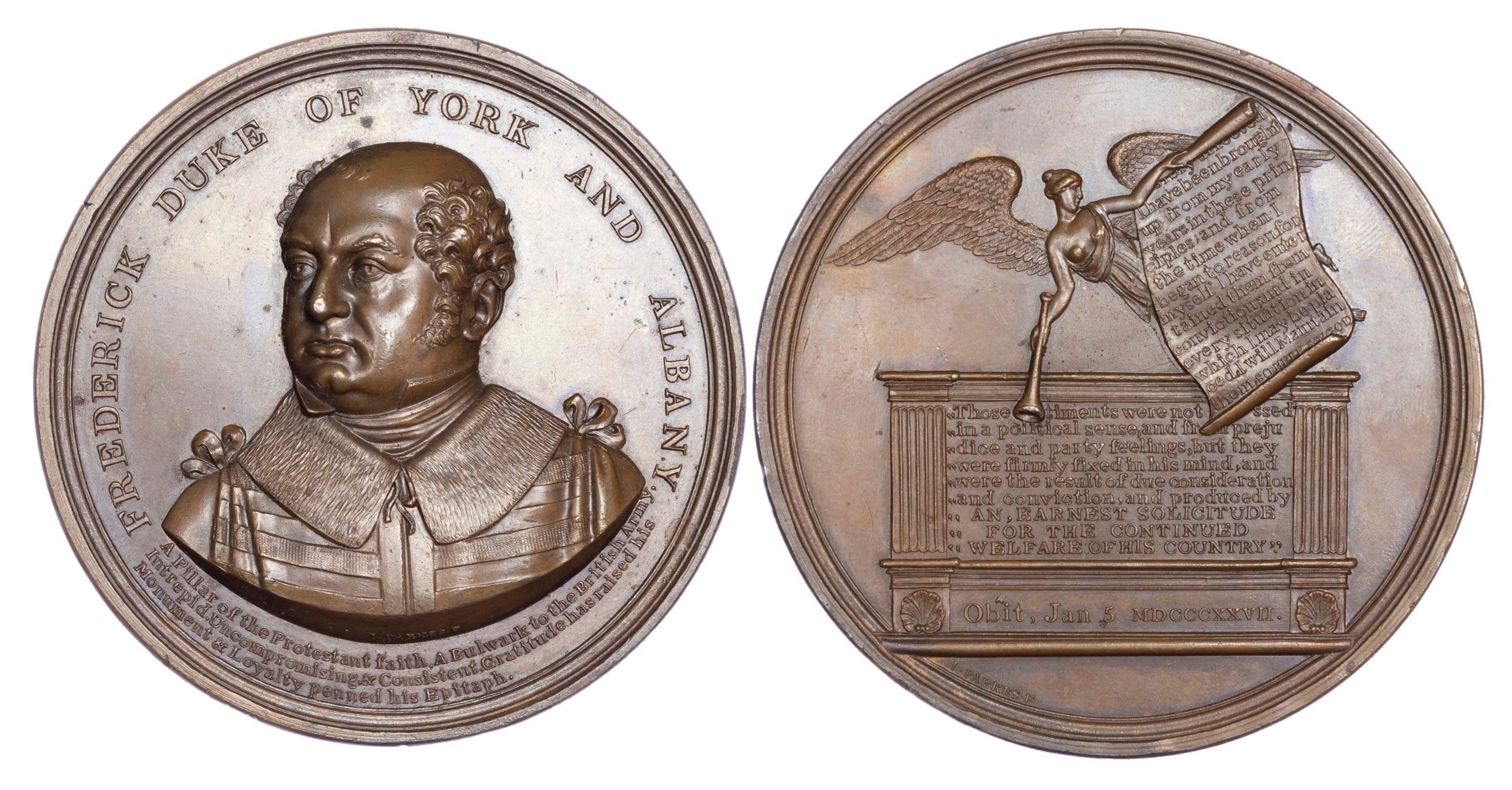 George IV, Prince Frederick, Duke of York and Albany, Death, Large AE medal, 1827