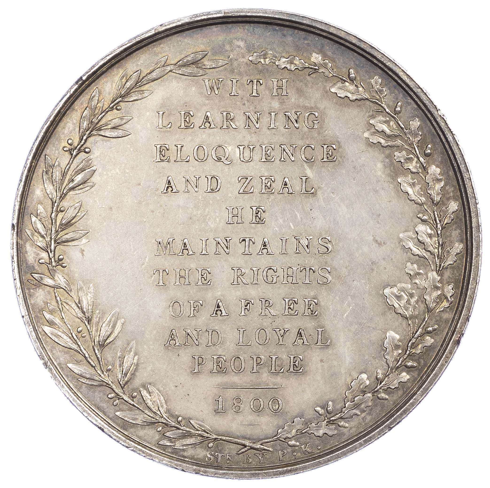Ireland ? George III, Whig statesman, silvered AE medal 1800