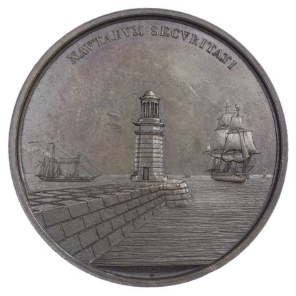 Venice under Austria, Foundation of the Harbour Mole at Malmocco, AE medallion 1838