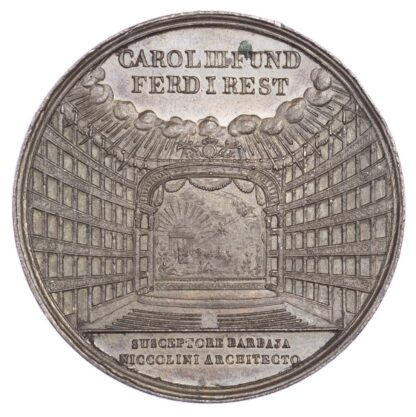 Italy, Naples, Rebuilding of the San Carlo Theatre after fire, AE medallion