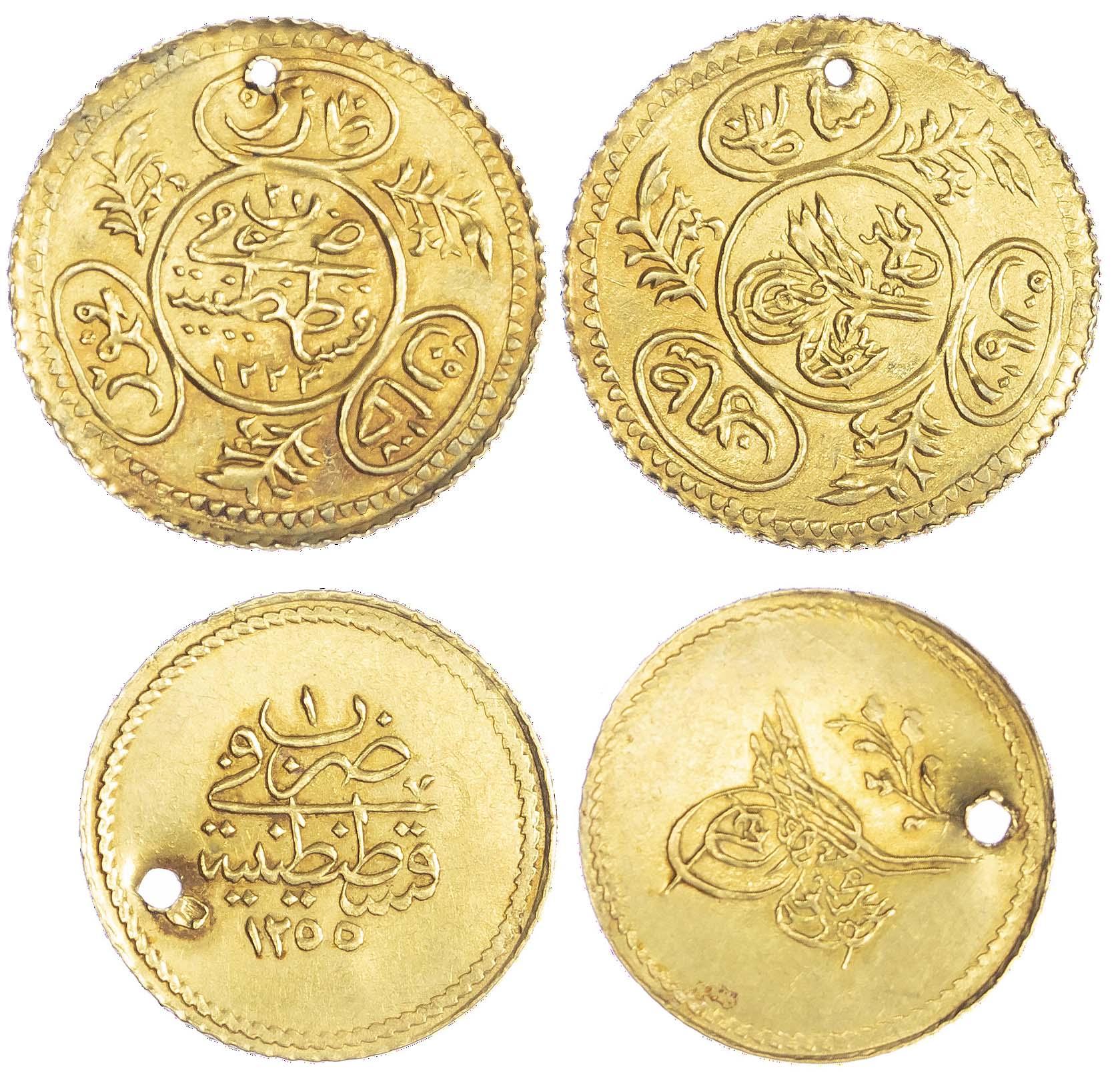 Ottoman Empire, Abdul Mejid (1839-1861), gold Memduhiye Altin and Mahmud II (1808-1839), gold Hayriye - Qustantiniya mint
