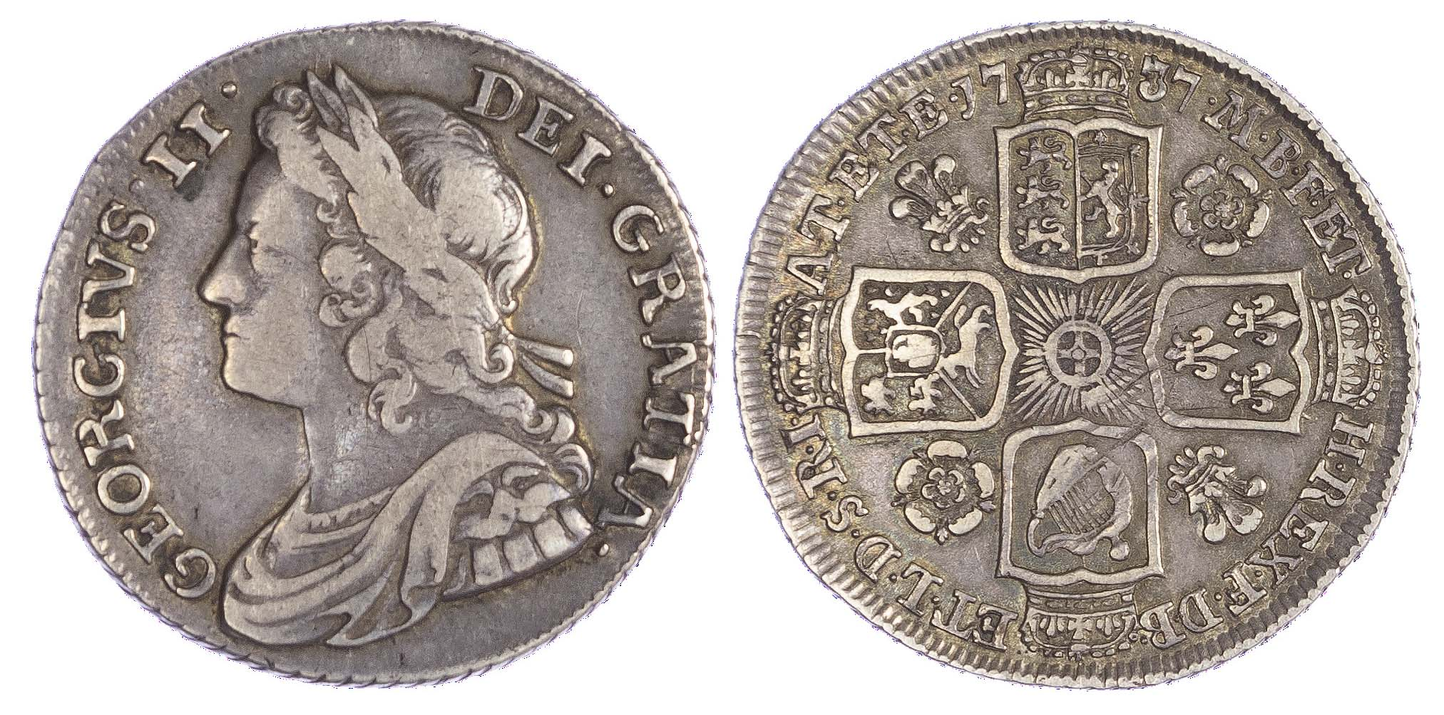 George II (1727-60), Shilling, 1737, 'Roses and Plumes'