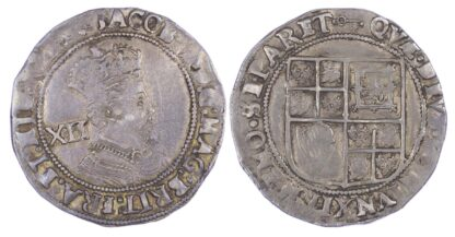 James I (1603-1625), Shilling, Second coinage, fifth bust, mm Key (Rare)