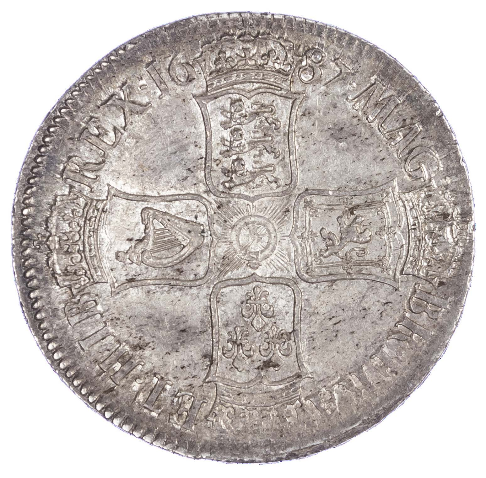 James II (1685-88), Crown, 1687, second bust, TERTIO. E over R in ET in edge (Rare)