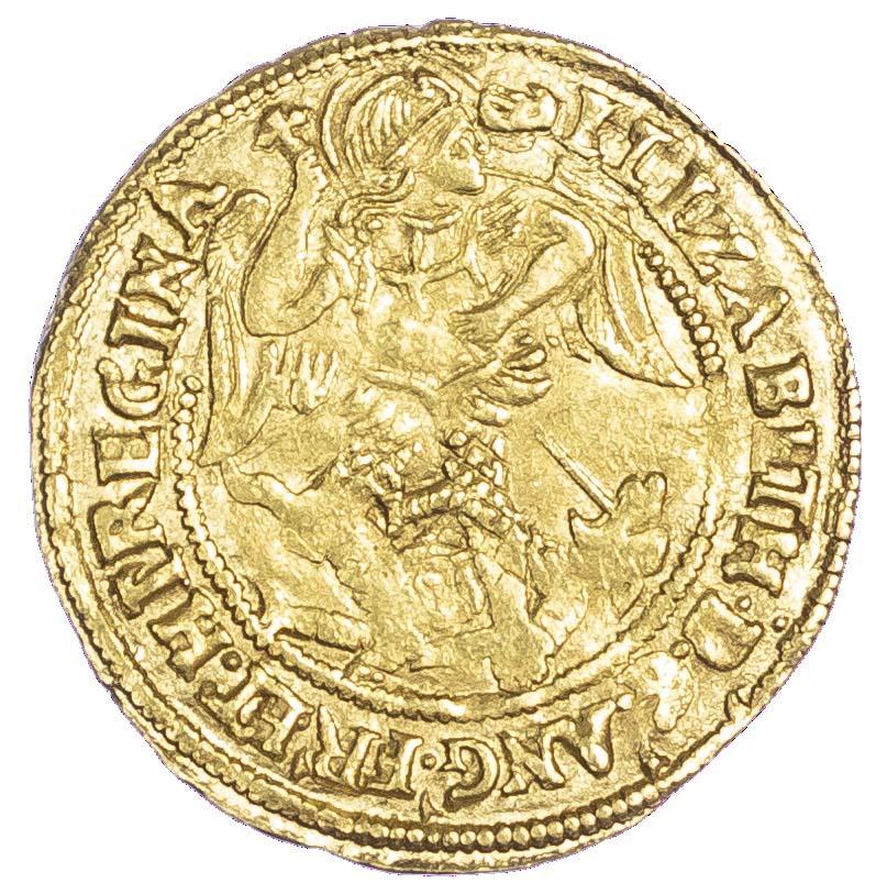 Elizabeth (1558-1603), Half Angel, 6th issue, mm hand