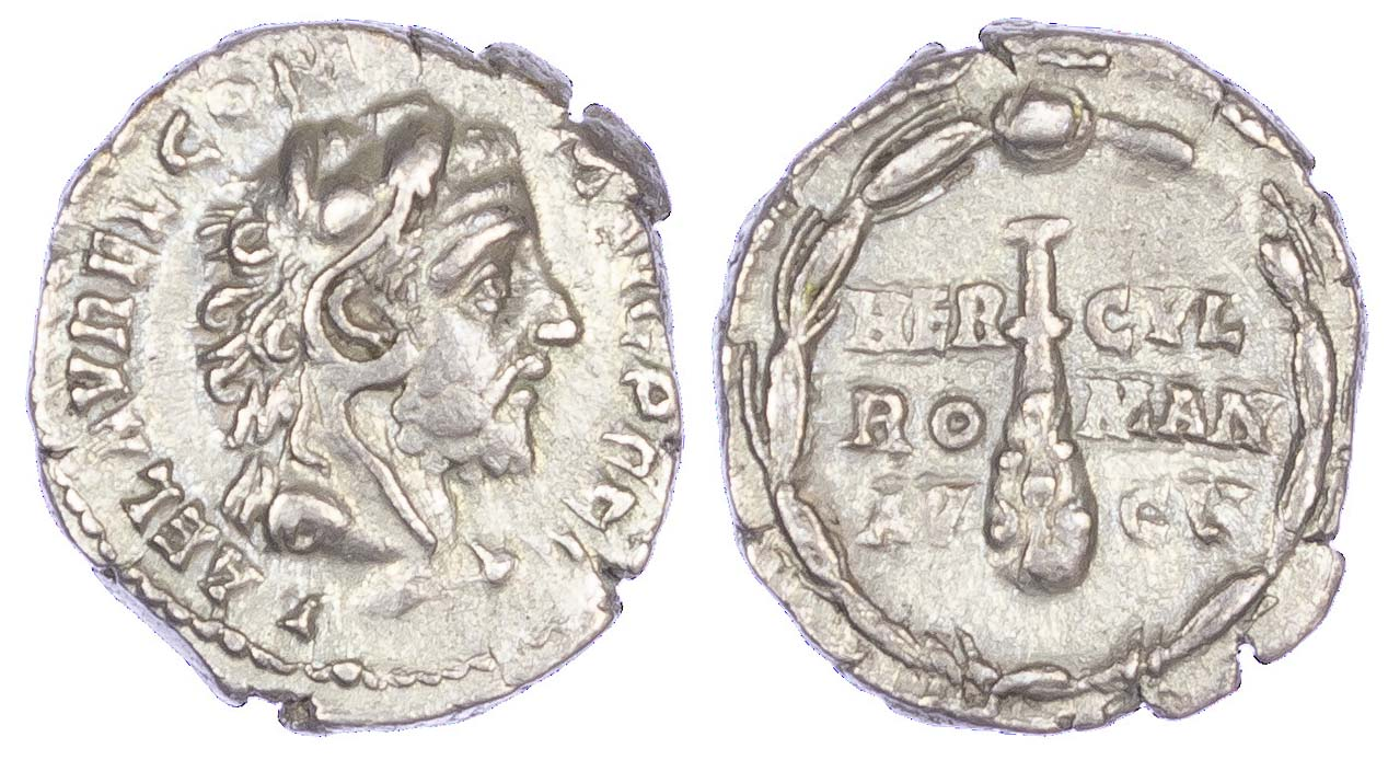 Commodus, Silver Denarius, Hercules Portrait