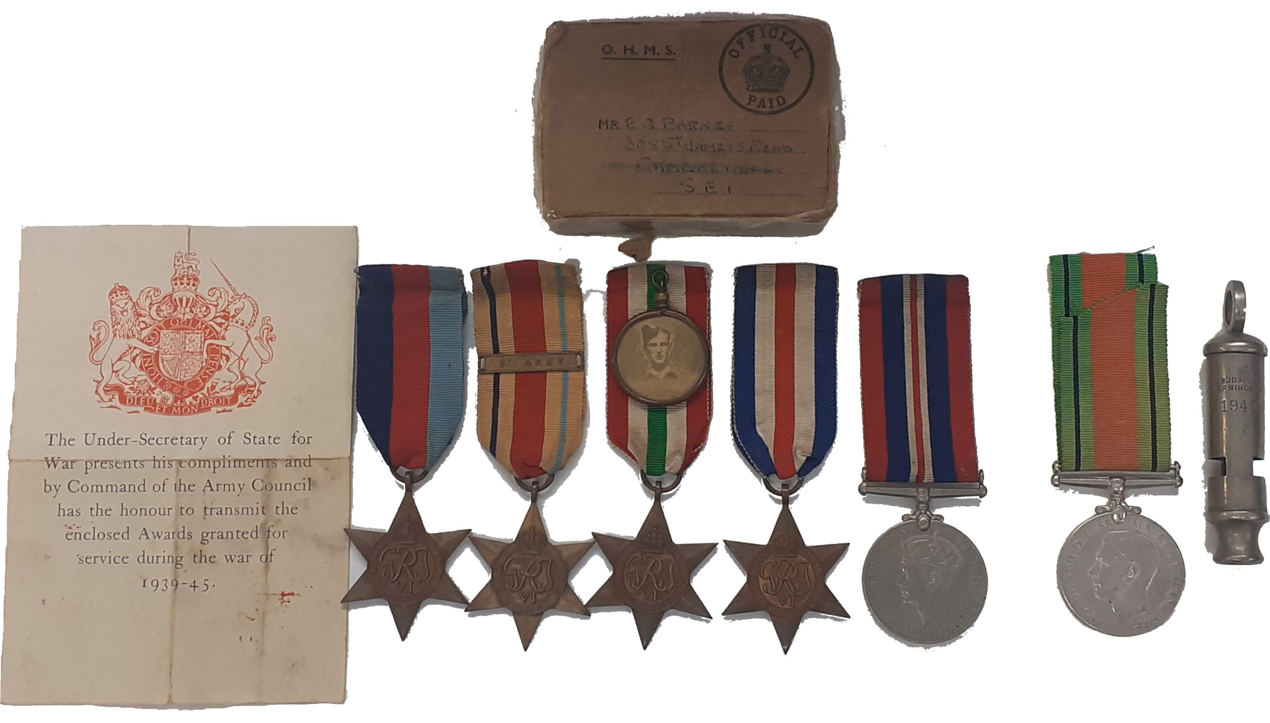 A Rifle Brigade, 8th Army, Desert Rats, 2nd Battle of El Alamein, Italy Campaign, D+2 Normandy landing's Group of 5 to Sergeant Ernest George Barnes