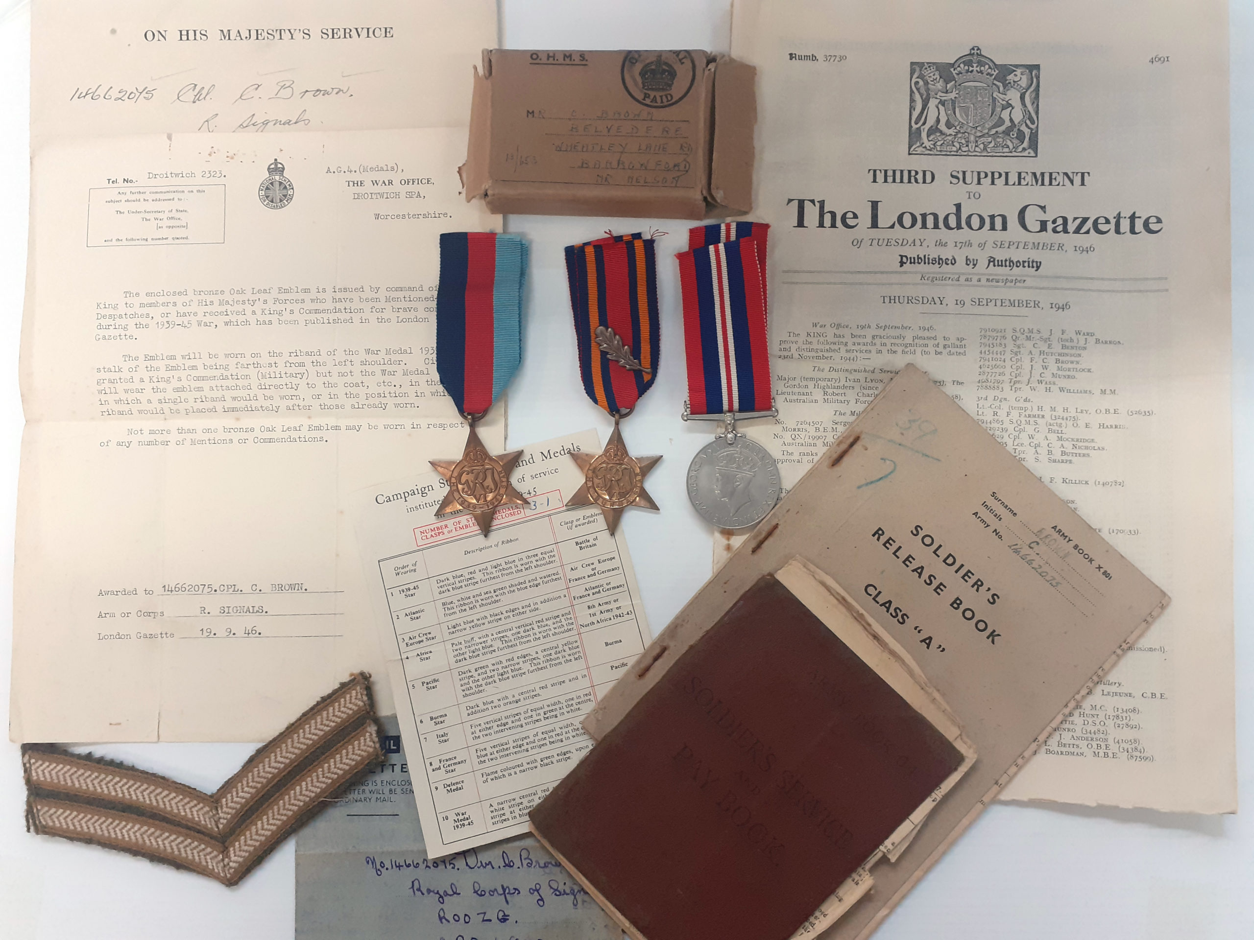 A Burma Campaign Mentioned in Despatches group to Corporal Clement Brown