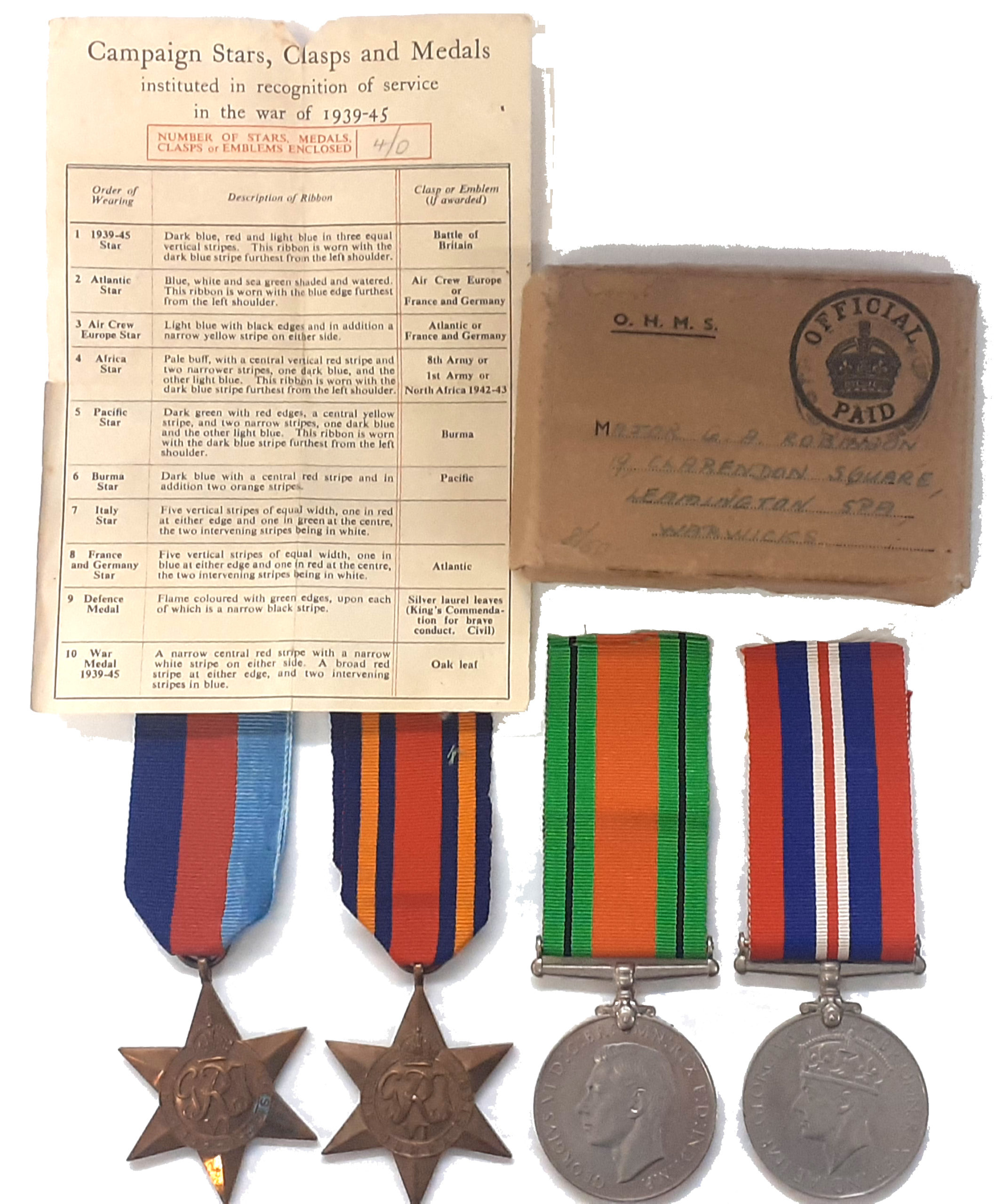A Royal Norfolk's Burma Campaign Officers Group of 4 to Major George Arthur Robinson