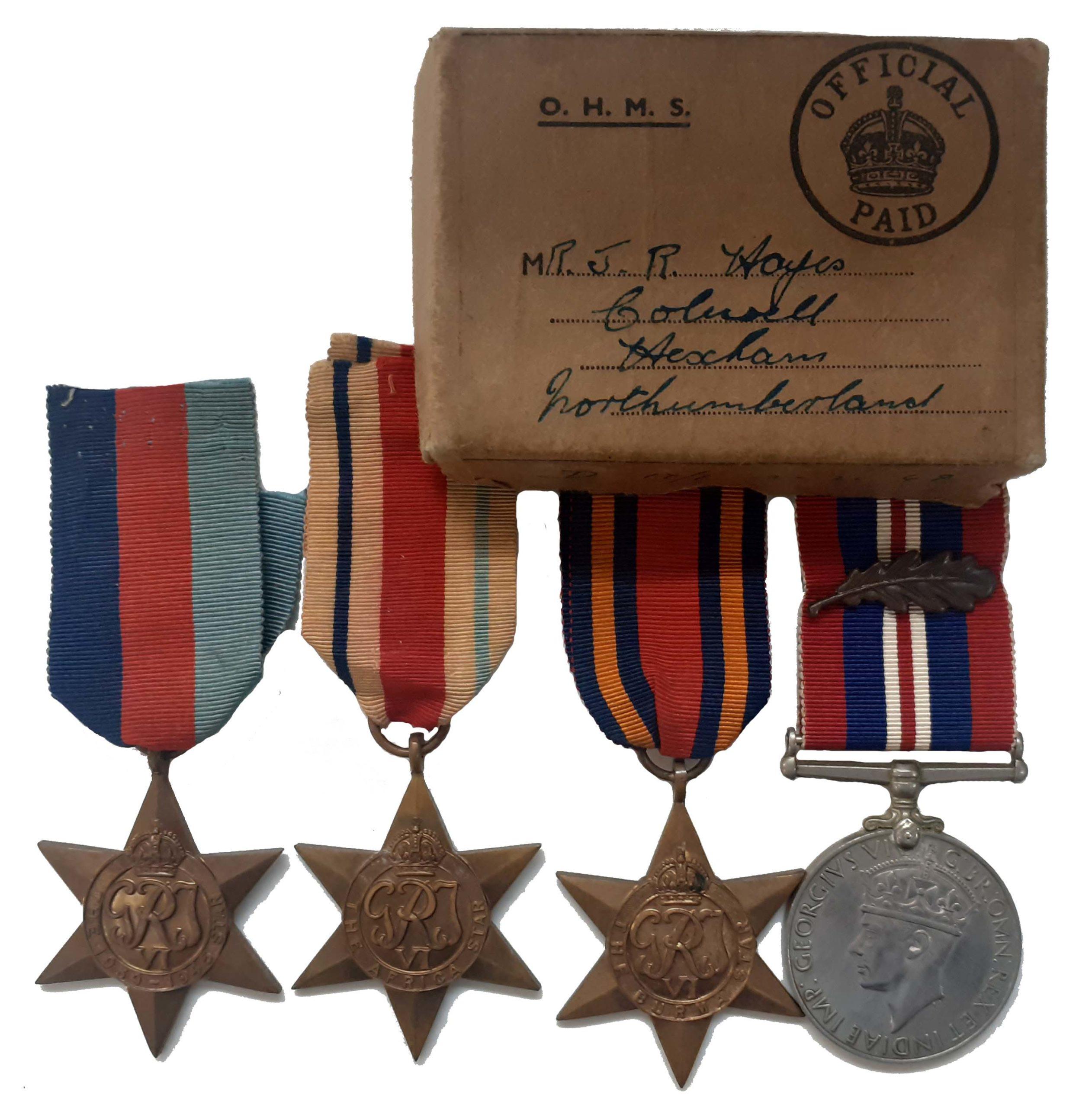 A North Africa, Far East, Mention in Dispatches Group of 4 attributed to 4451654 Sergeant J R Hayes
