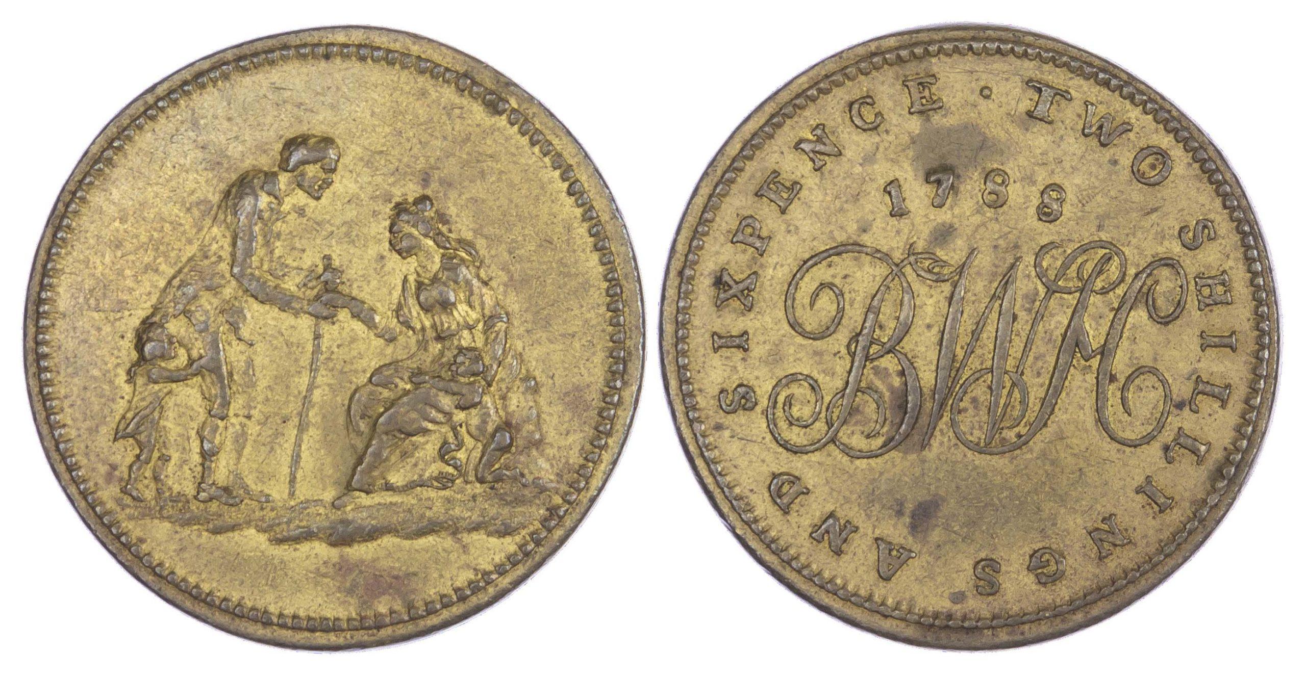 Warwickshire, BIRMINGHAM, Workhouse, Gimblett's brass Two Shillings and Sixpence, 1788