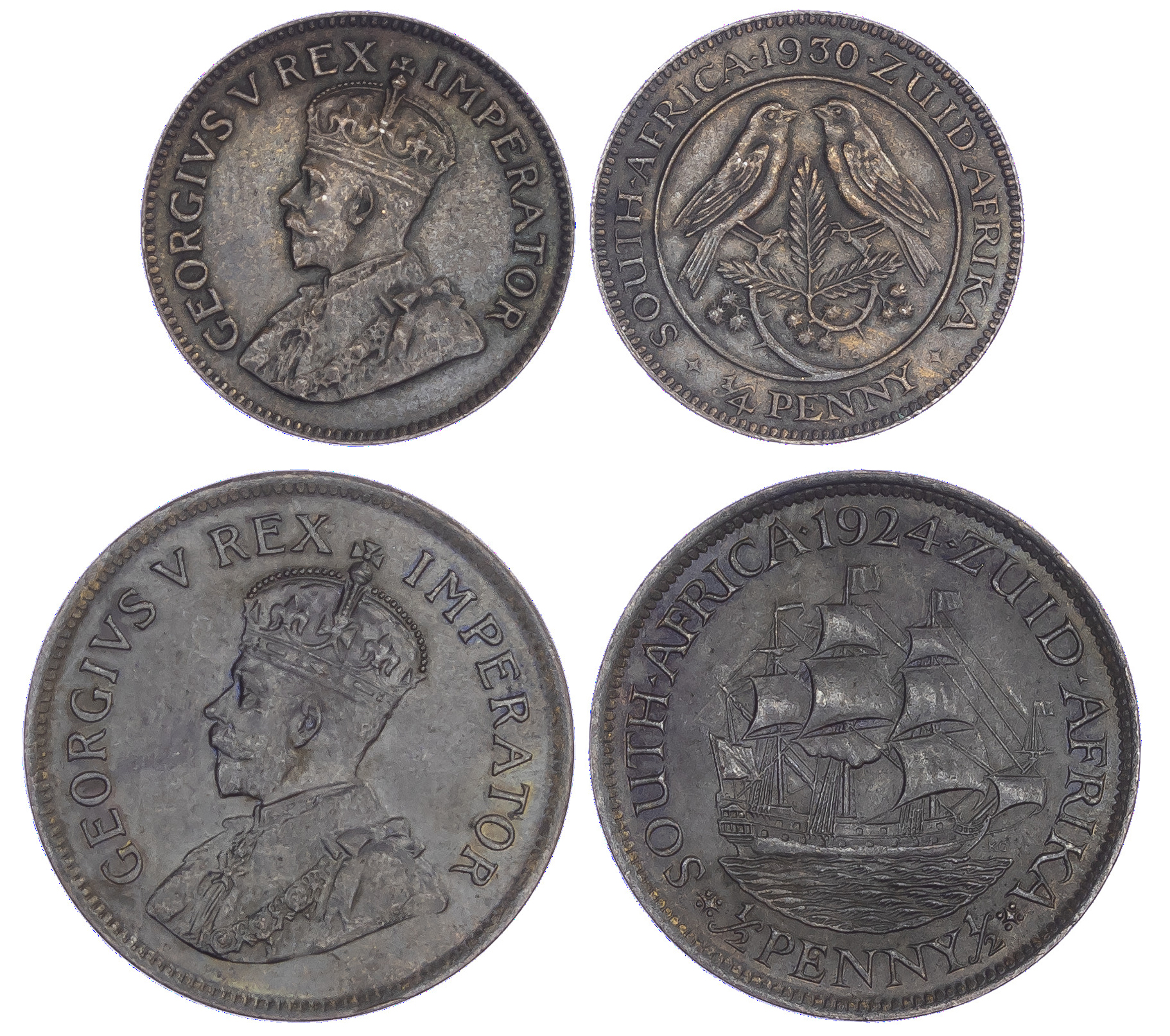 South Africa, George V (1910-1936), bronze Halfpenny and Farthing - 2 coins