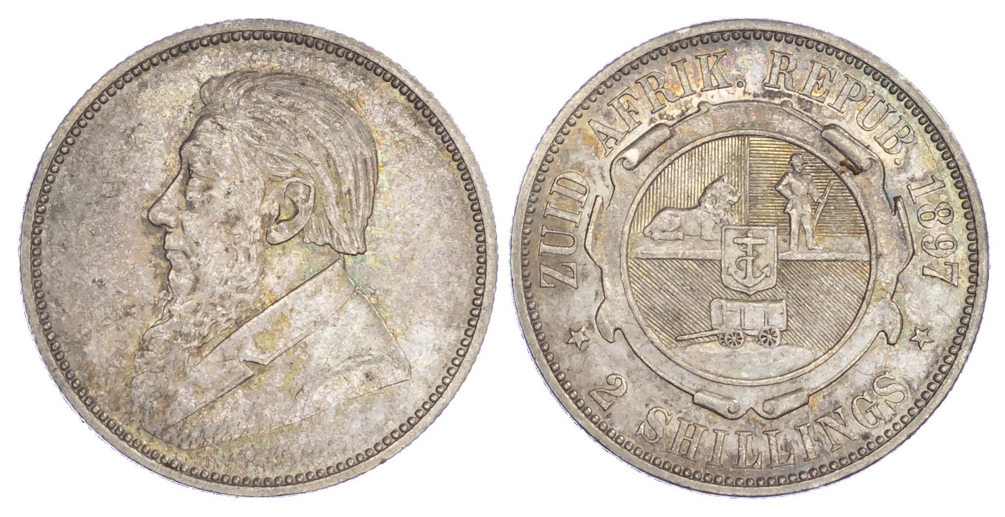 South Africa, Republic, Paul Kruger (1883-1900), silver 2 Shillings, 1897